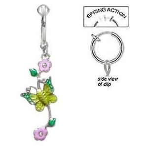 Navel Non Clip on Pink flower Green/Yellow Butterfly vine Dangle Ring