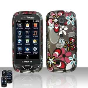 White Blue Pink Daisy Flower Rubberized Design Snap on