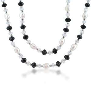 Silver Pearl Clear Crystal Black Onyx Long Multi Stone Necklace 40 in
