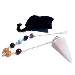Pendulum Rose Quartz with Chakra Bracelet