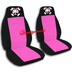 2 Black and hot pink GIRLY SKULL car seat covers for a