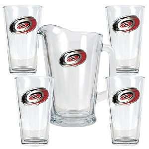 Carolina Hurricanes Nhl 4Pc Pint Ale Glass & 60Oz Pitcher