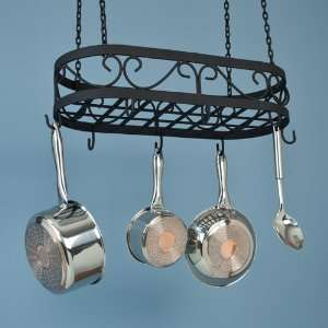24 Cast Iron Pot Rack   Black Powder Coat: Kitchen