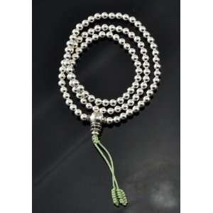 Handmade Sterling Silver Prayer Beads Mala, 4mm
