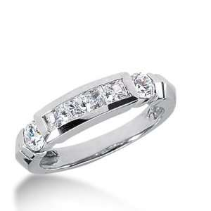 Wedding Band Ring Princess Channel 14k White Gold DALES Jewelry