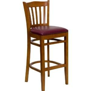 Wooden Restaurant Bar Stool with Burgundy Vinyl Seat