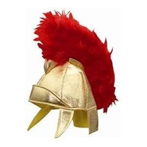 Gold Metallic Soft Roman Gladiator Helmet with Red Fur Top