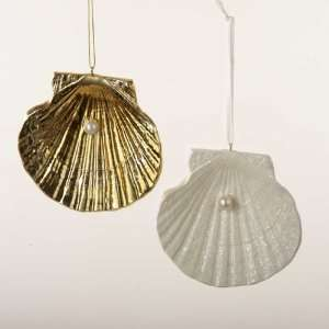 Gold and White Seashell Christmas Ornaments 3.5