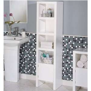 Bathroom Cabinet   White with 4 Shelves: Home & Kitchen