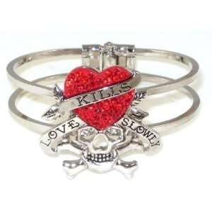 Love Kills Slowly Red Crystal Heart and Skull Bangle Bracelet Jewelry