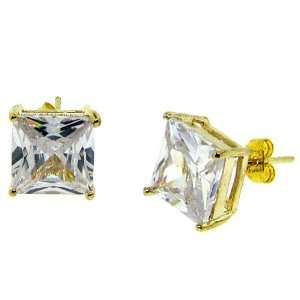 gold plated 10mm square crystal earrings mens new stud Jewelry