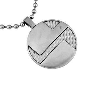 Mens Stainless Steel and Diamond Necklace Grande Jewelry