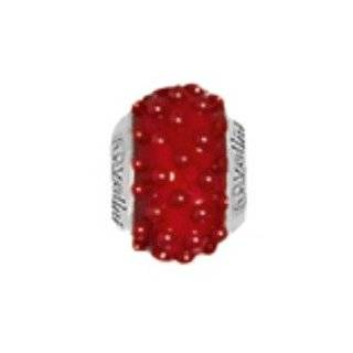 Sterling Silver Red Sea Bead with Murano Glass For Charm Bracelets