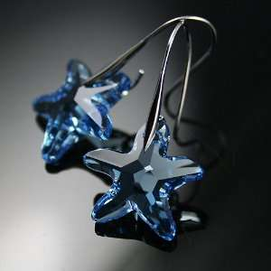 Starfish Crystal 925 Sterling Silver Earrings Used Swarovski Crystals