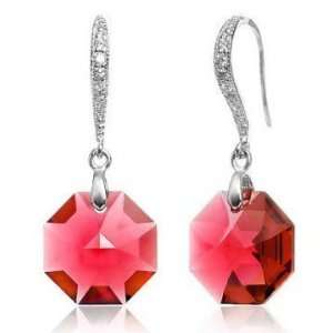 Red Crystal Silver Earrings Used Swarovski Crystals