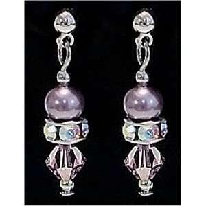 Swarovski Crystal Pearl Charming Dangling Earrings. Mauve