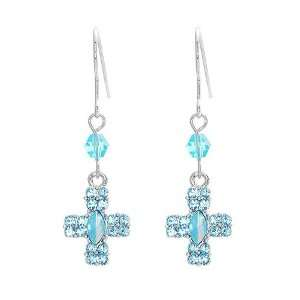 Quality Glistening Cross Earrings with Blue Swarovski Crystals (1316