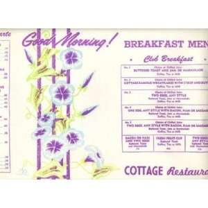 Cottage Restaurant Placemat Breakfast Menu Toronto