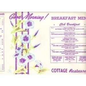 Cottage Restaurant Placemat Breakfast Menu Toronto