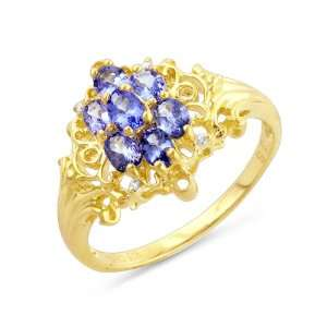 Gold Plated Sterling Silver Tanzanite Diamond Accented Ring   Size 5