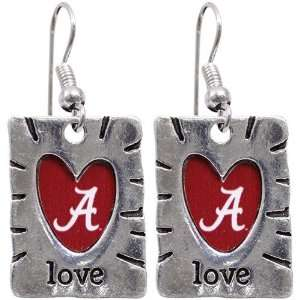 NCAA Alabama Crimson Tide Team Color Love Earrings Sports