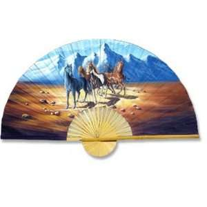 Large 60 Folding Wall Fan    Indian Stallions    Original Hand