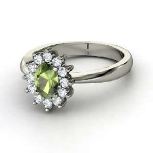 Ring, Oval Green Tourmaline 14K White Gold Ring with Diamond Jewelry