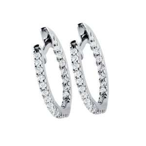 14k White Gold Round Cut Diamond Hoop Earrings ( .35 ctw , G I Color