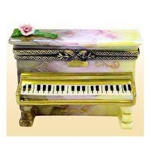 Ronsard Upright Piano with Rose French Limoges Box Home