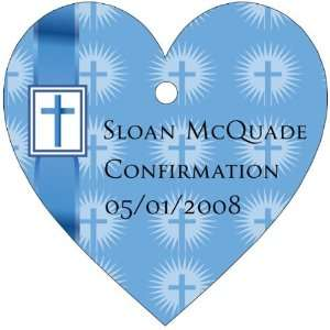 Wedding Favors Blue Ribbon Cross Design Heart Shaped Personalized