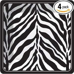 Serengeti Black & White Dinner Plate, 8 Count Packages (Pack of 4