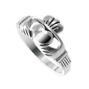 10mm Claddagh Heart Polished Finish 2mm Wide Band Ring Size 8 Jewelry