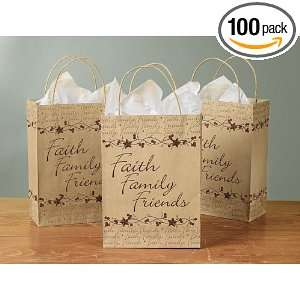 Faith, Family and Friends Gift Bag with Handle   Pack of 6