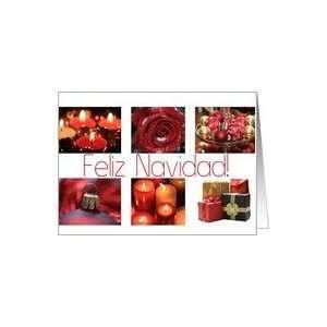 Spanish Feliz Navidad Merry Christmas red, black & white