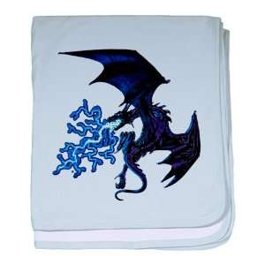 Baby Blanket Sky Blue Blue Dragon with Lightning Flames