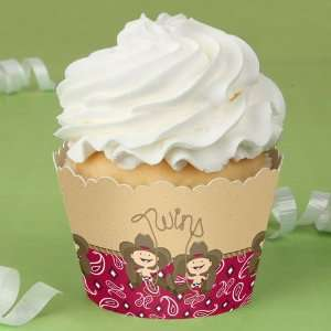 Twin Little Cowboys   Baby Shower Cupcake Wrappers Toys