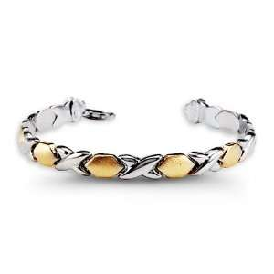 .925 Sterling Silver 10k Yellow Gold Link Bracelet Jewelry