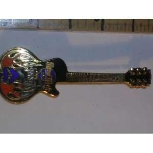 Hard Rock Cafe Guitar Pin, the Joint, Orange, Black, Blue, Gold Guitar