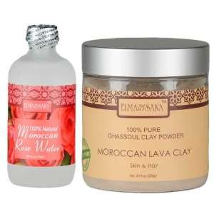 Organics Moroccan Rose Water(4oz) and Khassoul Clay Set(8oz): Beauty