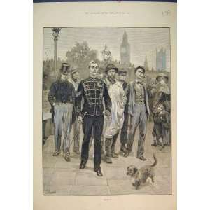 1882 Street Scene Recruits Soldiers Dog Antique Print