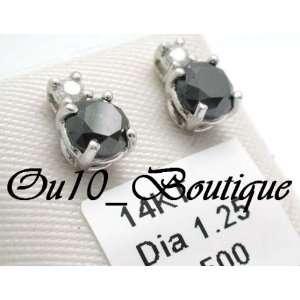 Diamond Stud Earrings (Black & White Diamonds) 14 Karat White Gold 100