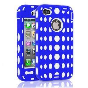 Shell Shock Case for Apple iPhone 4   White/ Blue