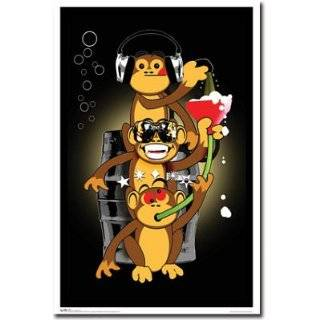 Black Light   Drinking Monkeys Poster 22 X 34 College Blacklight