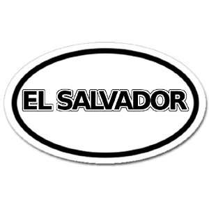 El Salvador Flag Car Bumper Sticker Decal Oval Black and White