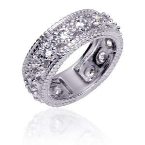 Eternally Stunning Sterling Silver Rhodium Finish Full Eternity Ring