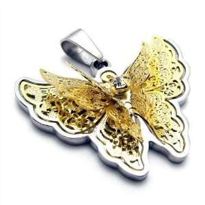 Womans Gold & Silver Butterfly Styled Necklace Pendant