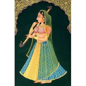Nayika with a Musical Instrument   Water Color On Canvas