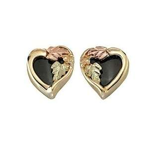 Heart Black Hills Gold Onyx Earrings Jewelry