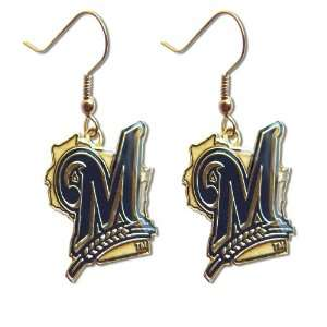 Milwaukee Brewers Dangle Logo Earring Set Mlb Charm Gift
