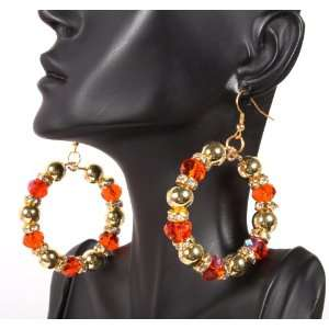Gold and Orange Basketball Wives Ladies 2 Inch Hoop Earrings with